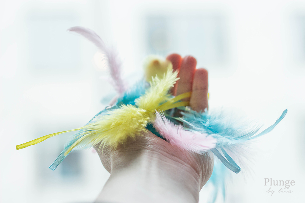 Feathers on a hand