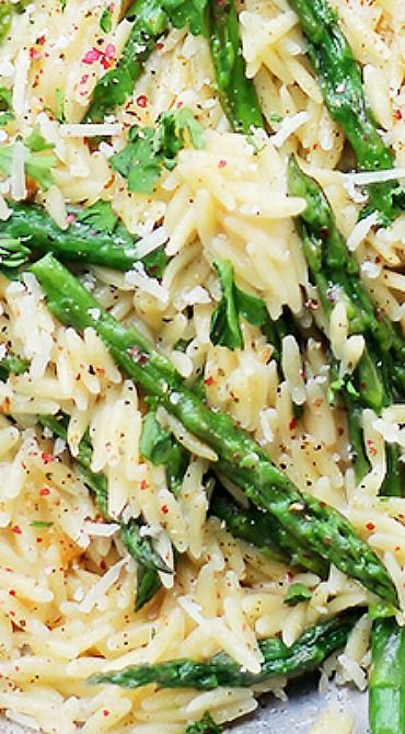 Garlic Butter Asparagus Pasta – Orzo Pasta and fresh Asparagus tossed in a garlic butter sauce and parmesan cheese.  It's a 20-minute, garlicky, cheesy, and amazing side dish!