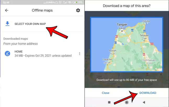 تحميل خرائط بدون اتصال