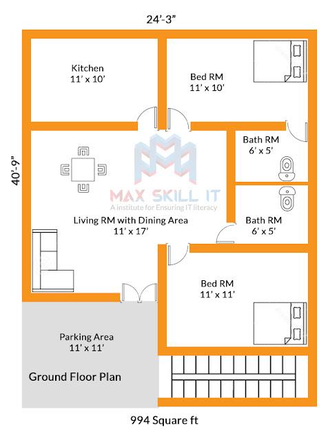 2bhk house plan design || 994 square ft house plan