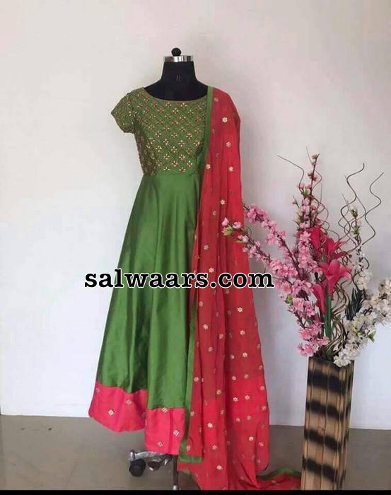 green raw silk mirror work salwar indian dresses
