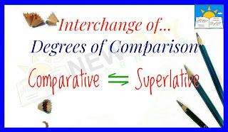 Interchange of Degrees of Comparison – Comparative Degree and Superlative Degree | Degree Chenge