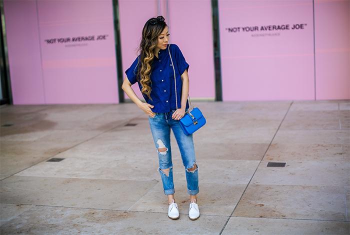 Everlane linen square shirt, blank nyc jeans, valentino bag, karen walker super duper sunglasses, everlane modern oxfords, white oxfords, valentino lock bag