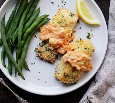 PANKO CRUSTED SALMON WITH TUSCAN TOMATO SAUCE