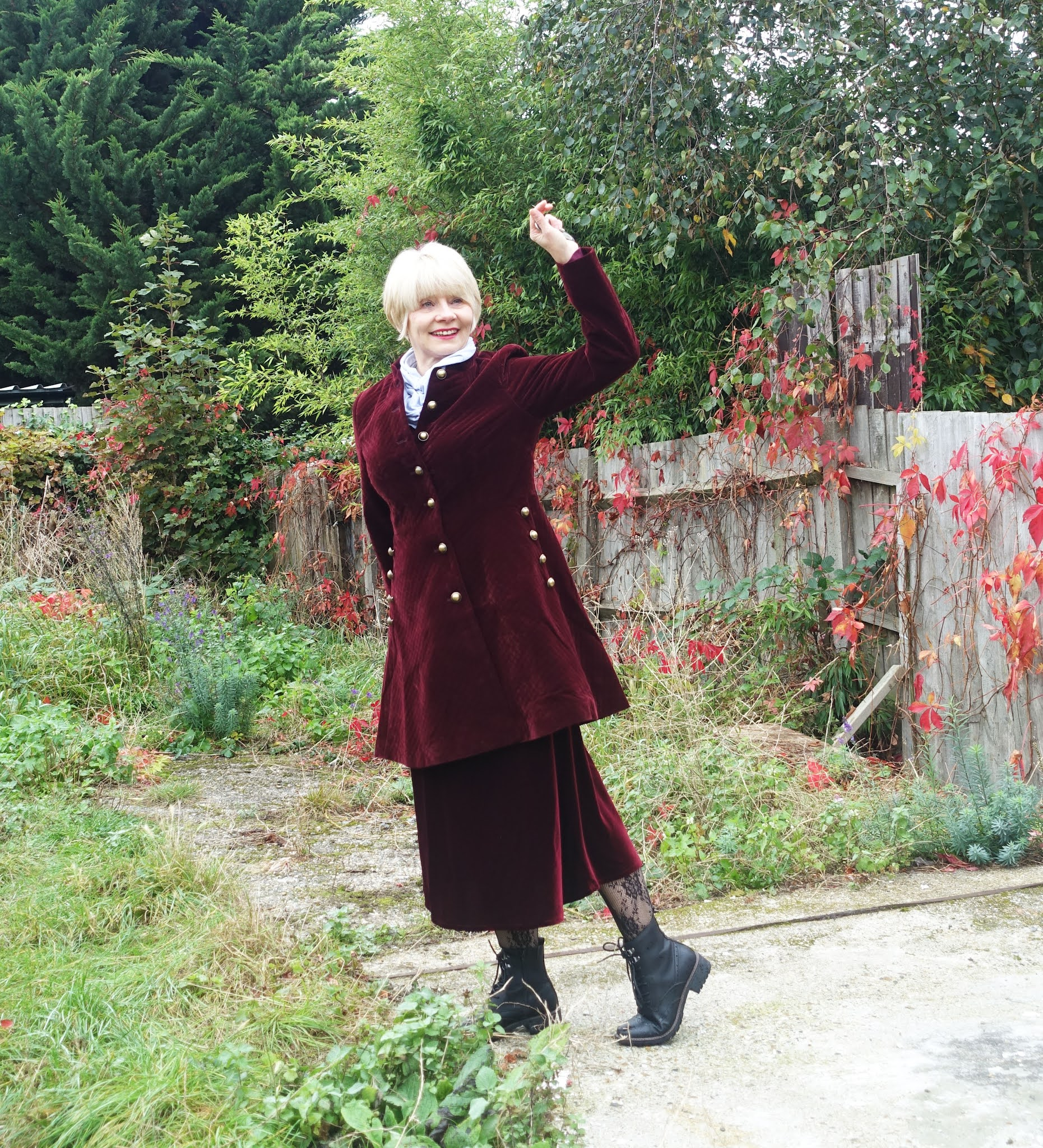 Gail Hanlon from Is This Mutton in velvet coat from Joe Browns