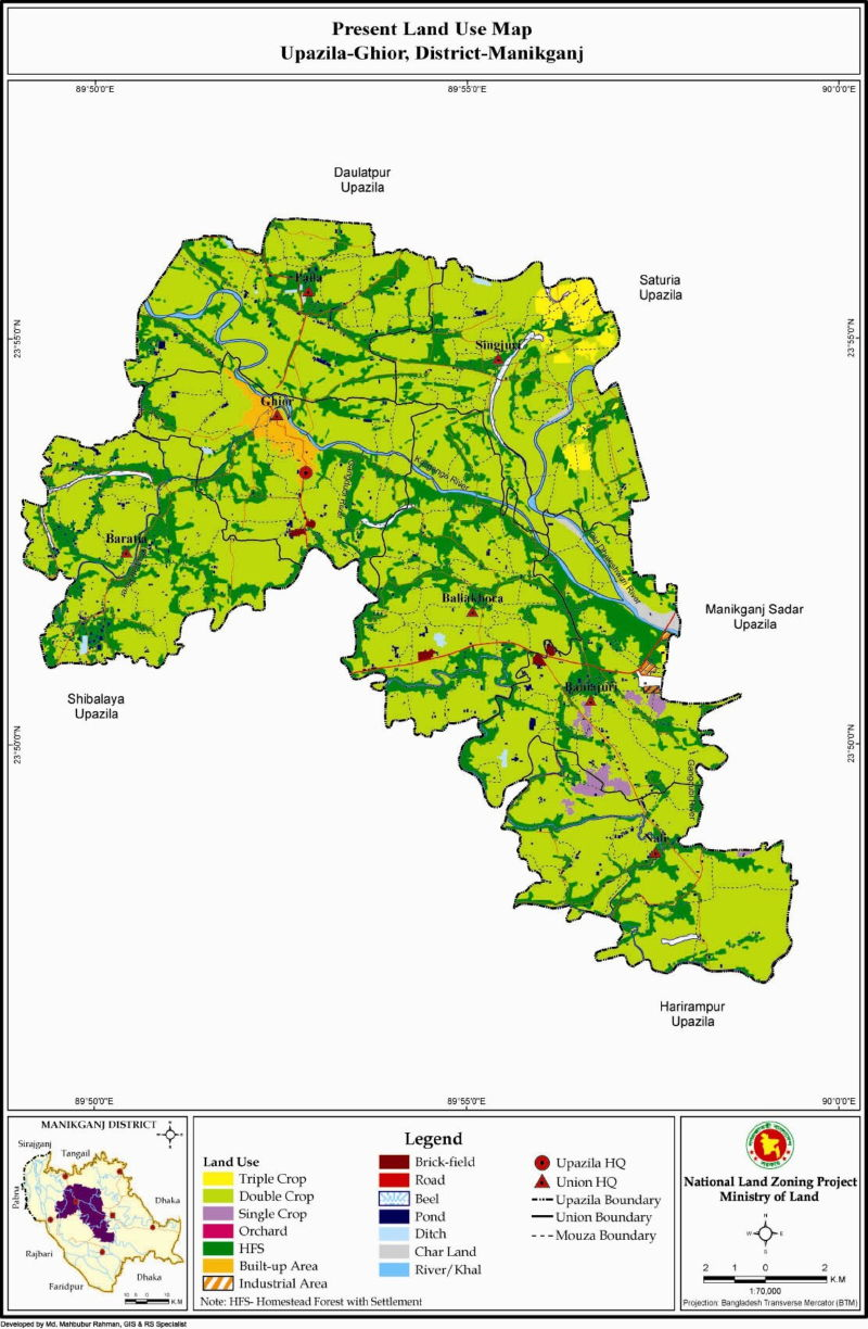 Ghior Upazila Mouza Map Manikganj District Bangladesh