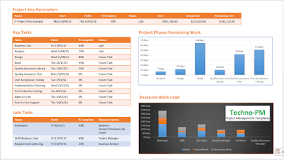one page ms project report, microsoft project dashboard templates
