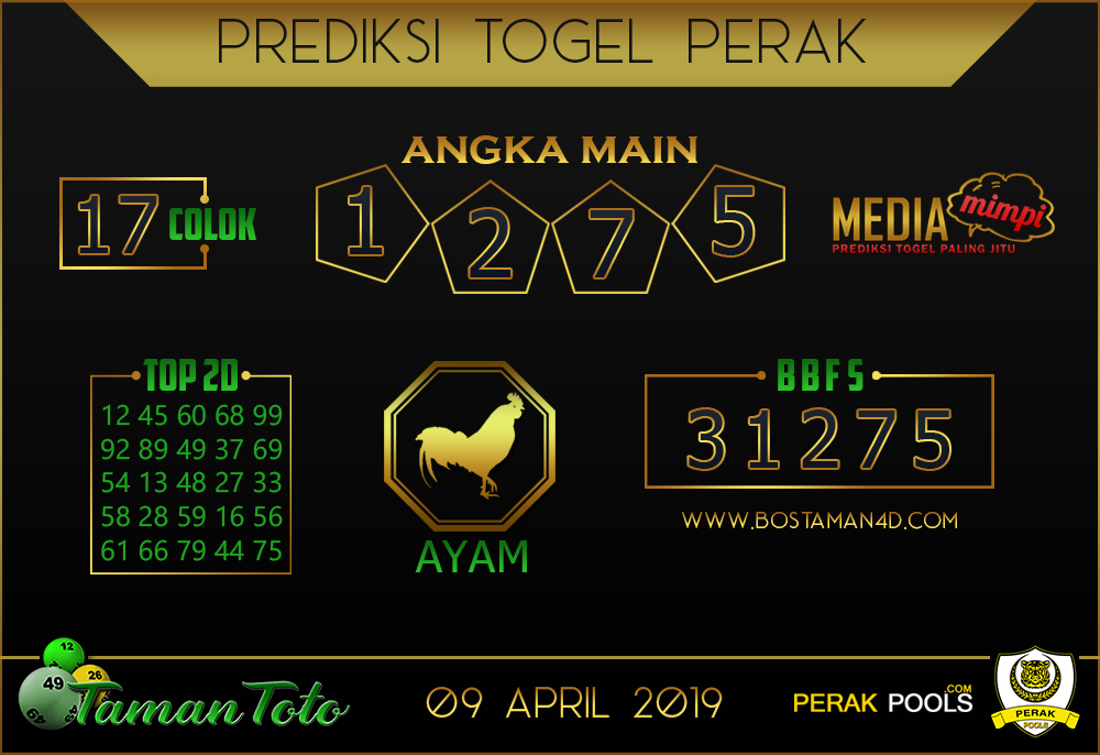 Prediksi Togel PERAK TAMAN TOTO 09 APRIL 2019
