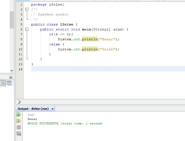 membuat contoh program java netbeans if else