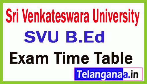 Sri Venkateswara University SVU B.Ed Exam Time Table