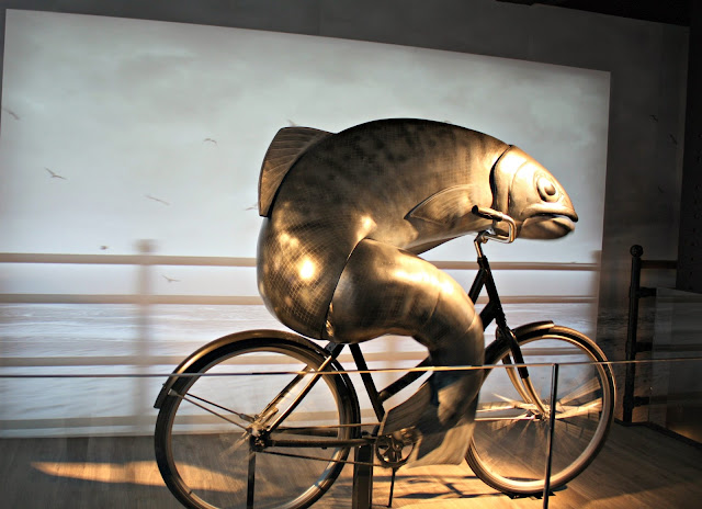 Moving fish on a bike at Guinness Storehouse in Dublin, Ireland