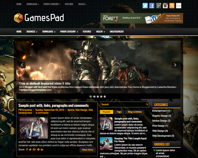 GamesPad blogger template