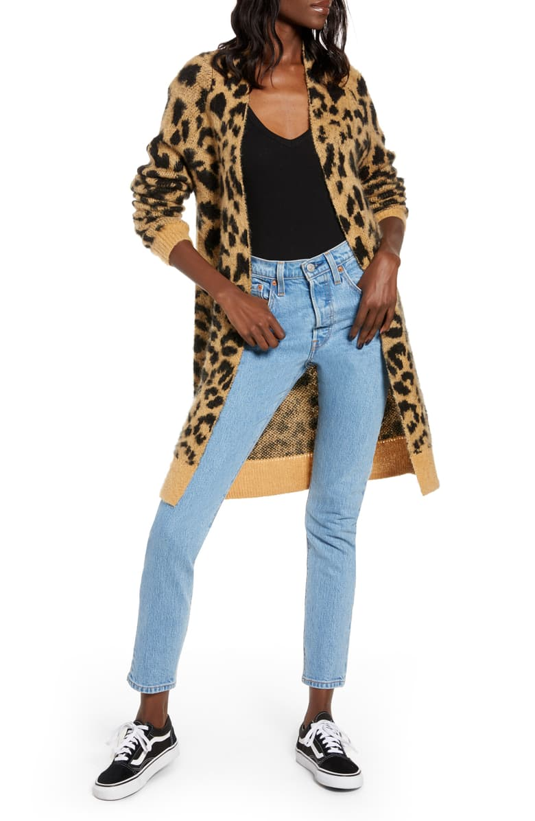 BP. Long Leopard Cardigan