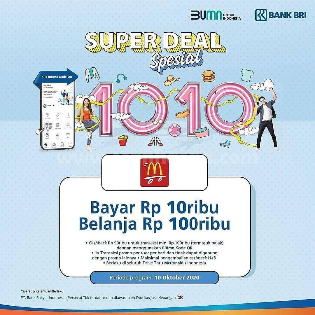 Promo McDonalds Super Deal Spesial 10.10 – Bayar hanya Rp. 10.000 pakai BRImo