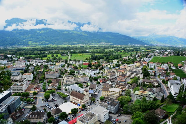 A view from a high location in Liechtenstein