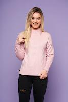 Pulover SunShine roz prafuit casual cu croi larg din material tricotat cu maneca lunga • SunShine