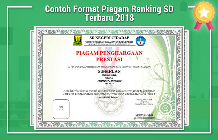 Contoh Format Piagam Ranking SD Terbaru 2018