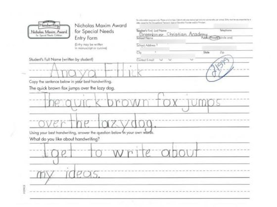 Anaya Ellick handwriting paper that won a national handwriting competition