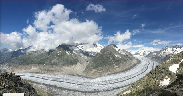 Geology travel Alps Switzerland Aletsch glacier Fiesch Laax hiking mountains ice source unknown