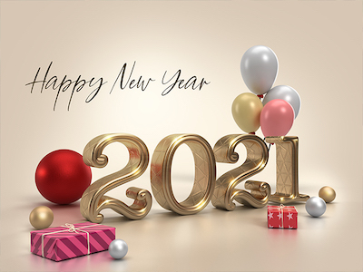2021 New year 3D background