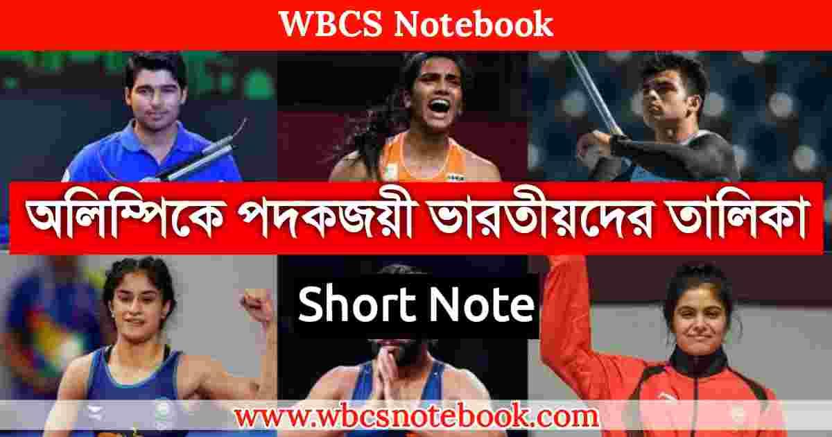 অলিম্পিকে পদকজয়ী ভারতীয়দের তালিকা PDF | Olympic Medalist in India