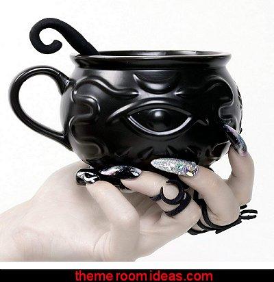 Cauldron Coffee Mug  Gothic kitchen decor - gothic kitchenware - gothic dinnerware - skulls kitchen decorations - bat kitchen decor  dracula  vampires - Halloween kitchen decorating - skeletons kitchen decor -  zombie kitchen stuff