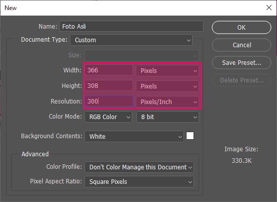 Membuat dokumen baru di Photoshop berdasarkan ukuran dan resolusi gambar asli