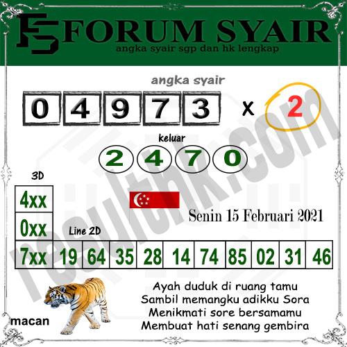Forum Syair SGP Senin 15 Februari 2021