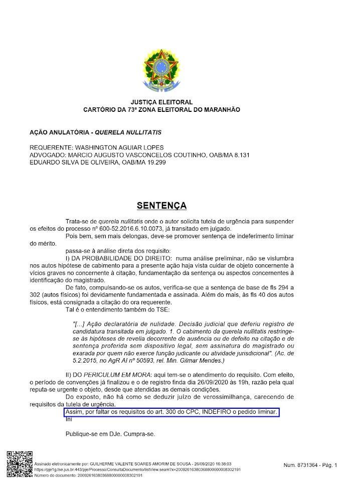 URBANO SANTOS: WASHINGTON DO POSTO PERDE DE NOVO (DE VELHO) NA JUSTIÇA E CONTINUA FORA DA CORRIDA ELEITORAL 2020