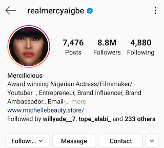 Mercy Aigbe Thanks Her Fans As She Hits 8.8 Million Followers On IG