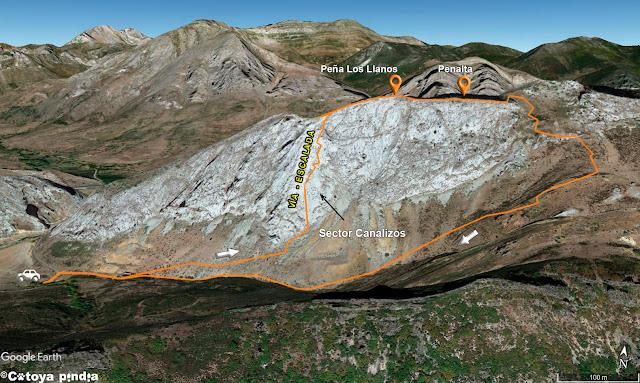 Mapa 3D de la ruta a Peña Los llanos por la vías el sector Canalizo