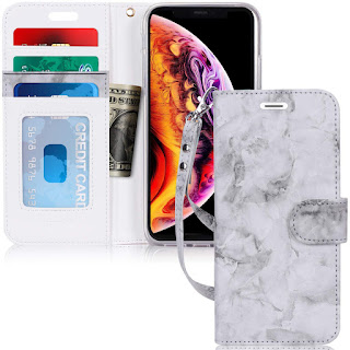 "FYY Leather Wallet Case iPhone Xr (6.1"") 2018, [Kickstand Feature] Flip Folio Leather Wallet Case ID Credit Card Pockets iPhone Xr (6.1"") 2018 Ink"