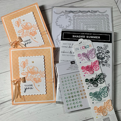 Craft items used to create floral greeting cards and Shaded Summer Stamp Set
