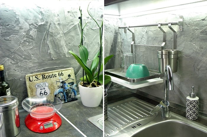 betonowa ściana DIY w kuchni | lvlupstudio