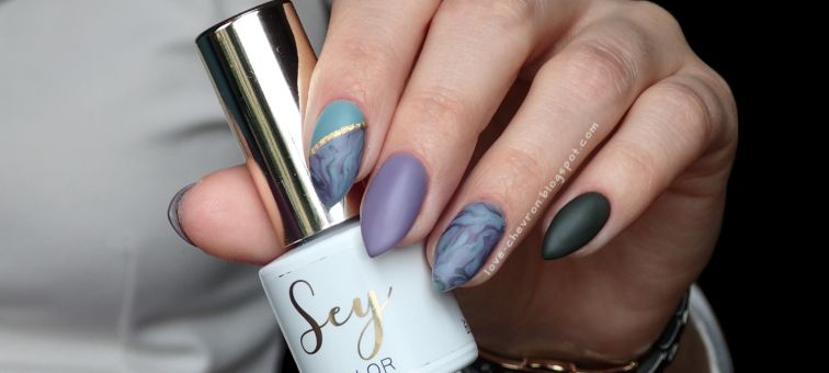 Sey | Cosmetics Zone | stone effect nails | s087 Blueberry Shake | 217 Blueberry Jam | 234 Ocean Khaki | 036 Atlantic Seal | Sey Top Mat | Sey Extreme Base | marble nails | marmurkowe paznokcie | zdobienie na hybrydzie | fioletowe paznokcie | zielone paznokcie |