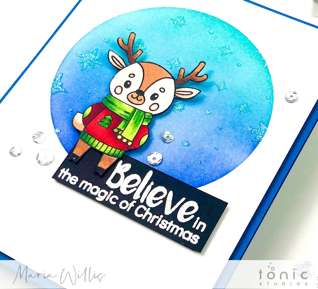 #cardbomb, maria willis, #tonicstudios, #tonicstudiosusa, #tonicstudiosgardenparty, #tonicwonderfulwishes, #stamp, #ink, #paper, #cards, #cardmaker, #cardmaking, #handmade, #art, #color, #christmas, #reindeer, Christmas Snow Globe, Celebrate Success