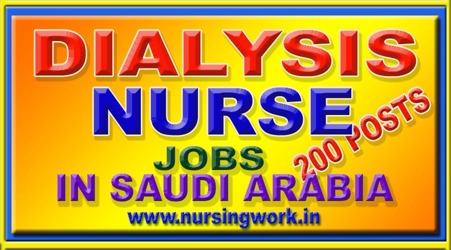 NURSING JOBS: 200 DIALYSIS NURSE JOBS IN SAUDI ARABIA