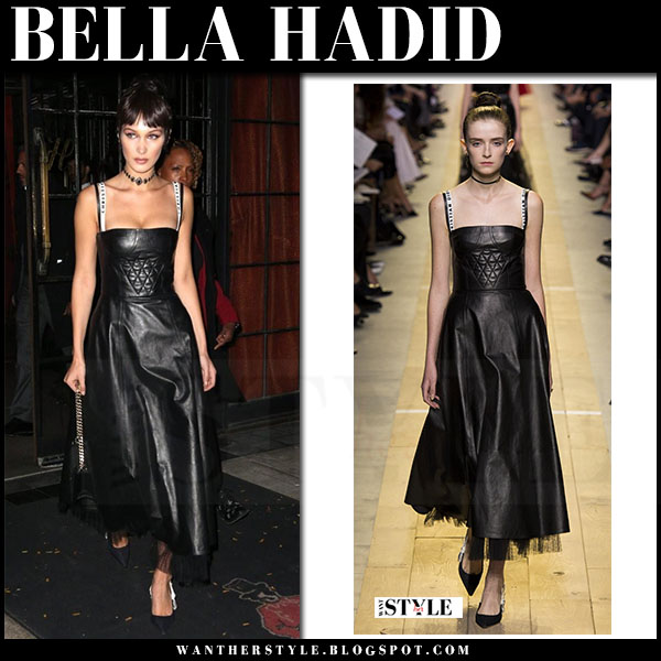 Bella Hadid in black leather dress dior what she wore model style