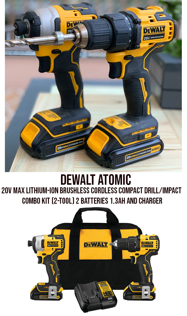 brushless cordless compact drill-impact combo kit 2 tool 2 batteries and charger