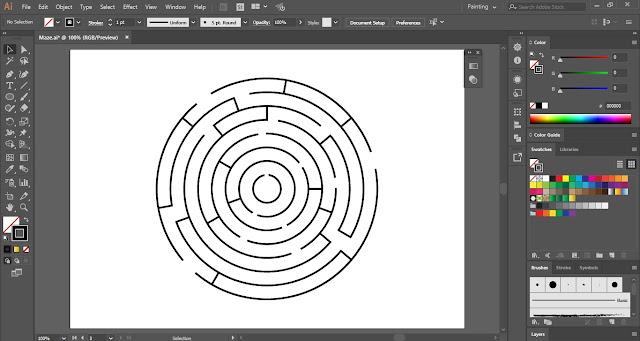 3D Circular Maze in Adobe Illustrator