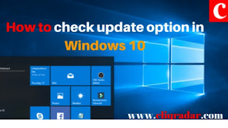 How to check update option in windows 10