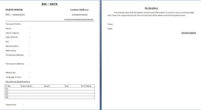 Bio data sample type 4