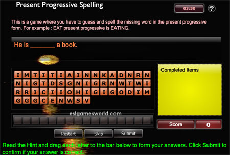 Juego en el que hay que adivinar el verbo y usar su forma correcta del presente continuo