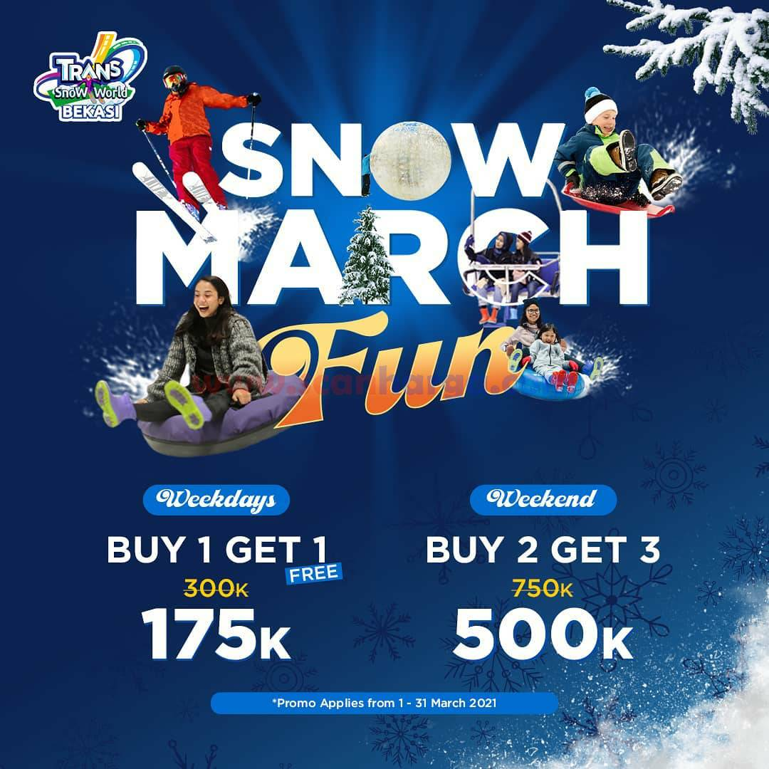 Trans Snow World Bekasi Promo Snow March Fun! Buy 1 Get 1 hanya 175K