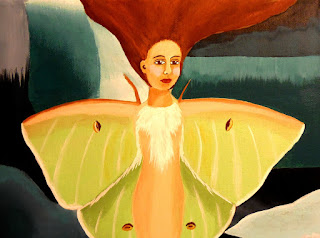Pop Surrealism Luna Moth Painting by Jeanne Fry