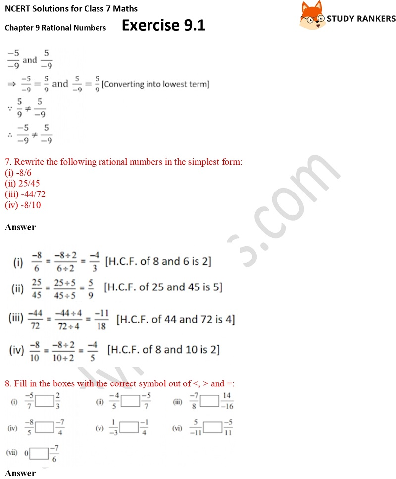 NCERT Solutions for Class 7 Maths Ch 9 Rational Numbers Exercise 9.1 7