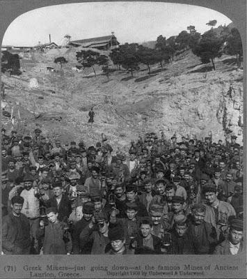 Εργάτες στο Λαύριο από το αρχείο της βιβλιοθήκης του Κογκρέσου USA 1903.