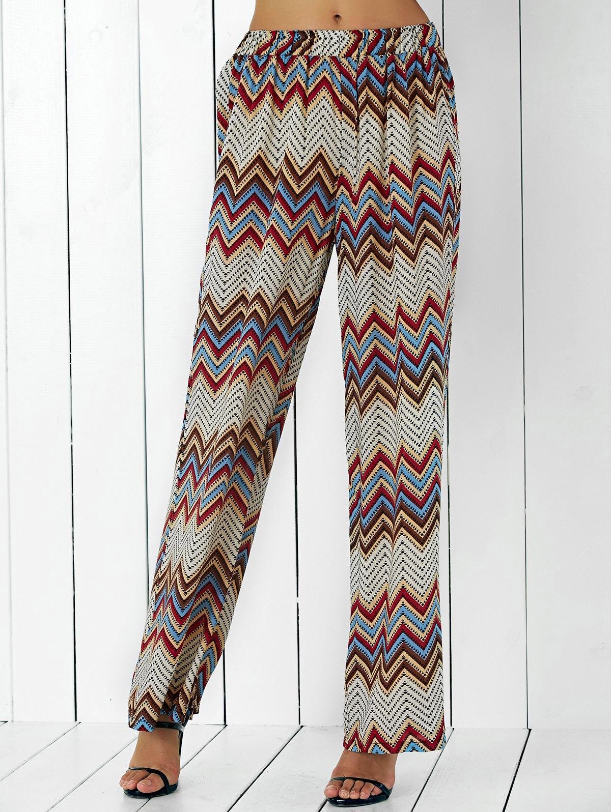 High Waist Zigzag Stripe Wide Leg Pants