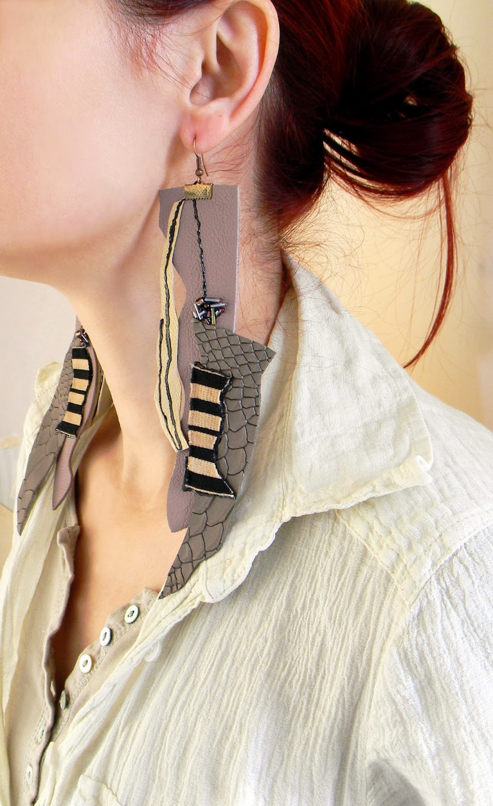 Statement Fashion Earrings Huge Leather Earrings Patchwork Collage Jewelry