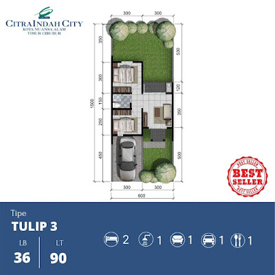 Denah Rumah Tulip 36 90 Citra Indah City